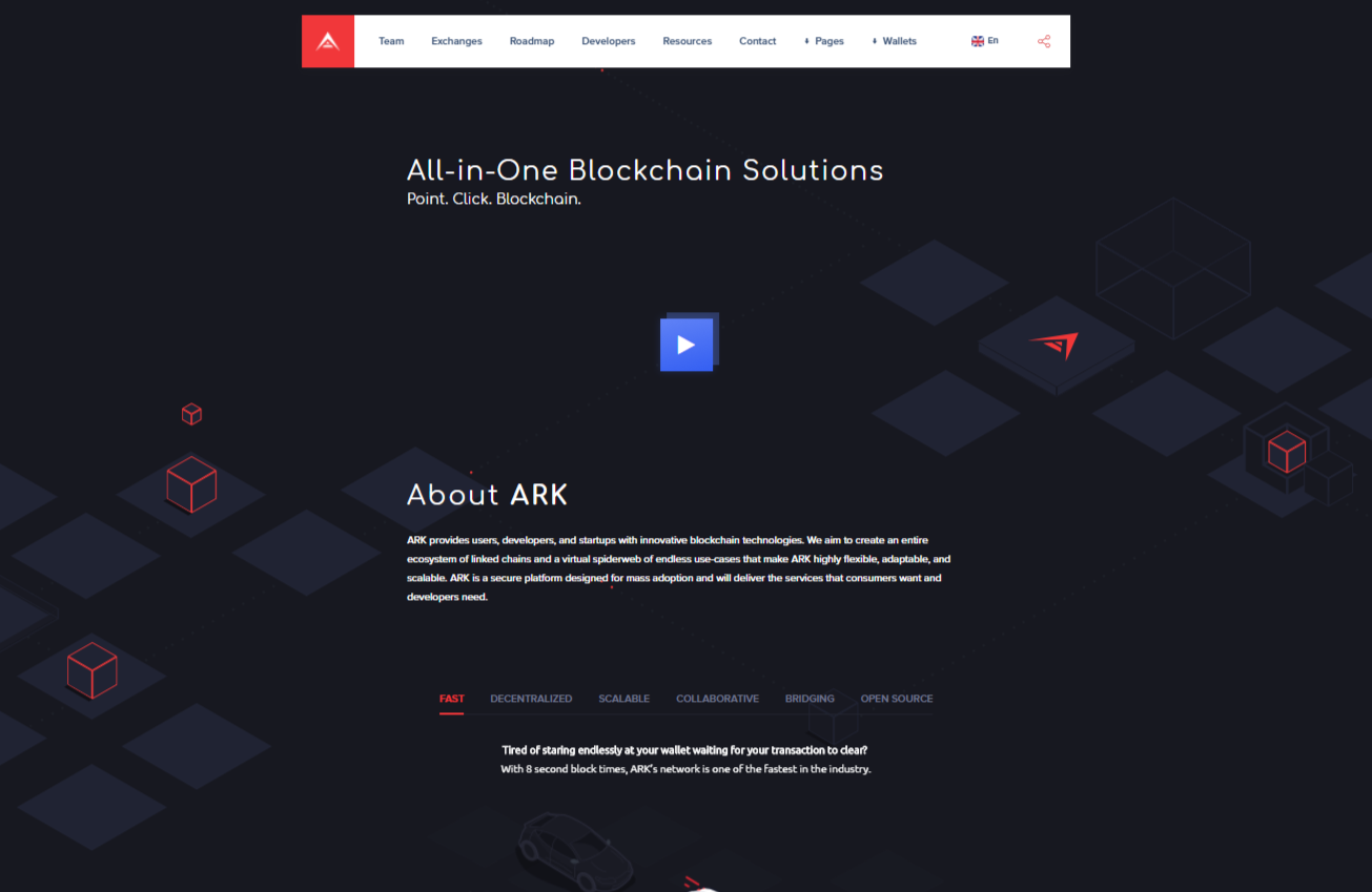 Ark redesigned website home page