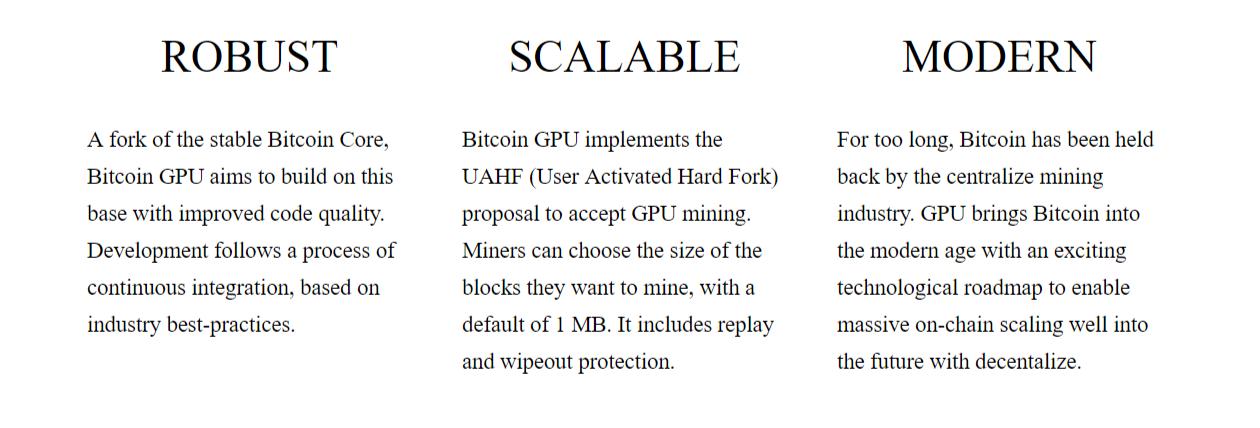 Bitcoin Gold's Website Promises
