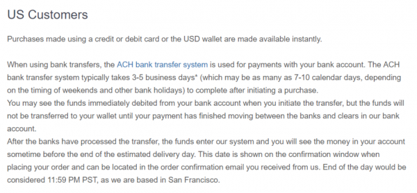 Coinbase US Bank Transfer Length Stipulations