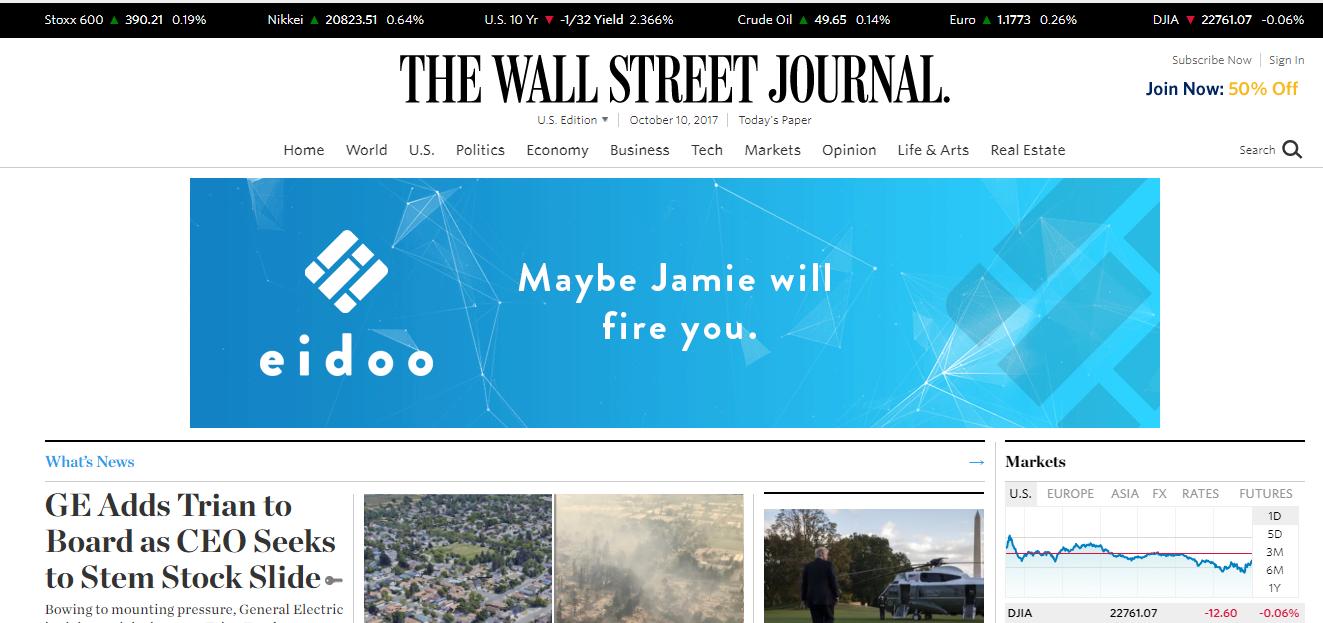 Eidoo Ad JPMorgan Wall Street Journal