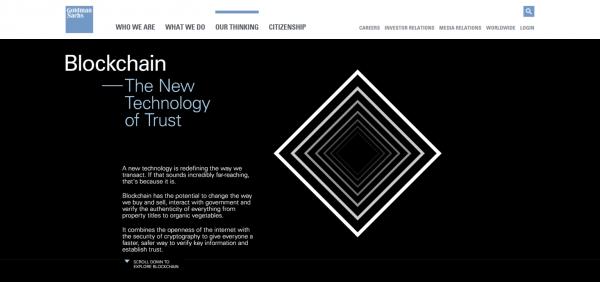 Goldman Sachs Blockchain Website