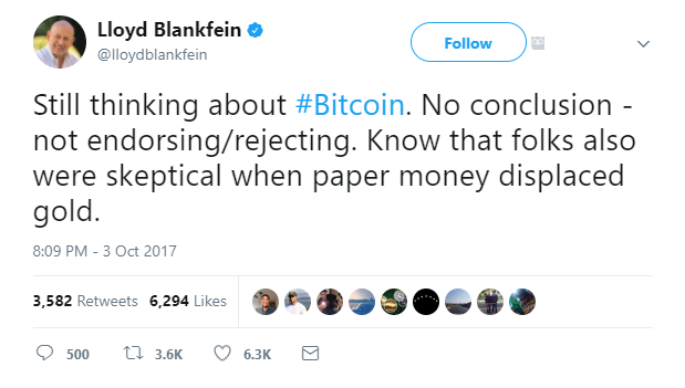 Goldman Sachs CEO Bitcoin Twitter Post