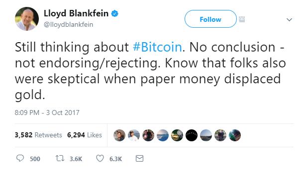 Goldman Sachs CEO Bitcoin Twitter Post