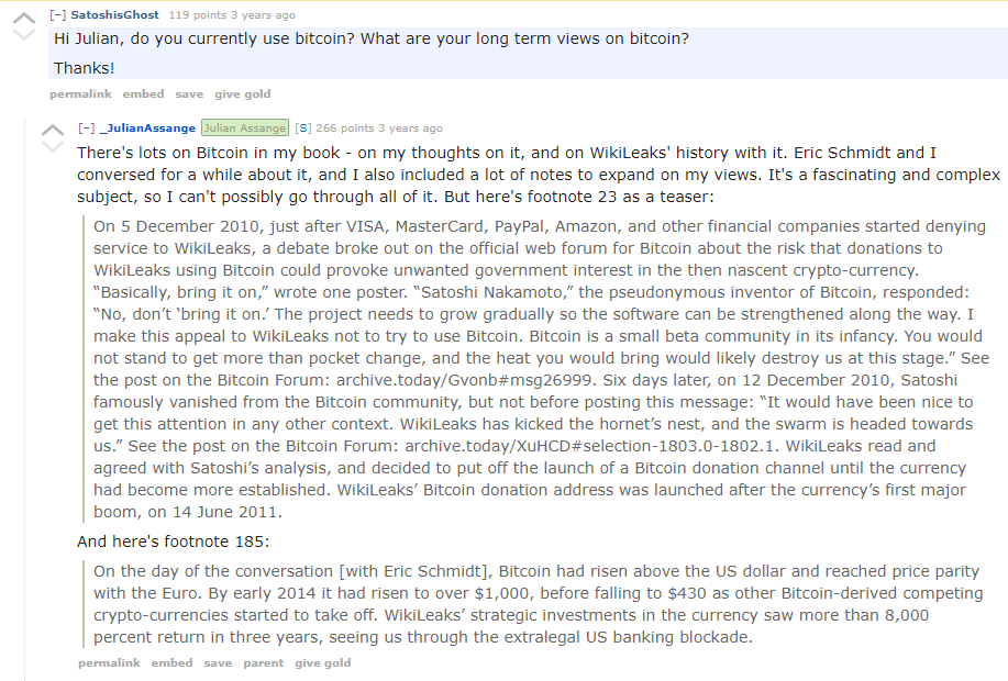 WikiLeaks Reddit QA Bitcoin