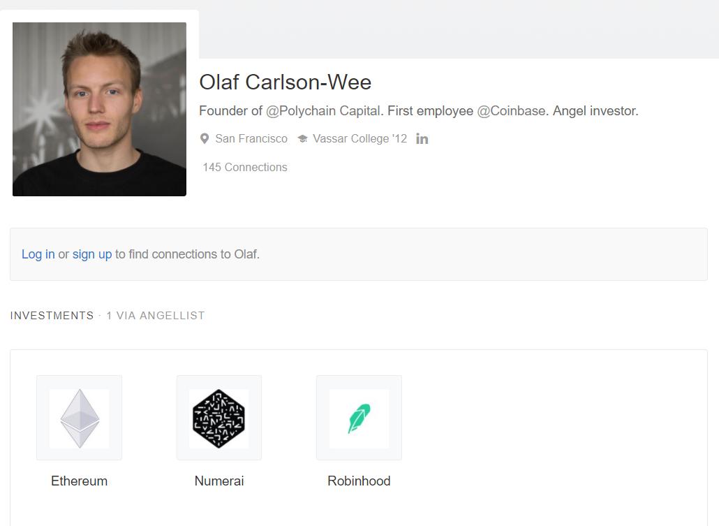 Olaf Carlson-Wee Bitcoin Coinbase exchange