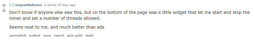 Pirate Bay Cryptocurrency Mining Reddit comment