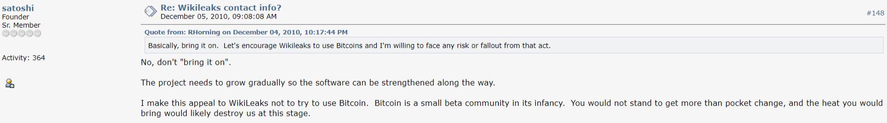 Satoshi Nakamoto Bitcoin WikiLeaks comment