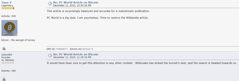 Satoshi Nakamoto WikiLeaks Bitcoin hornet's nest comment