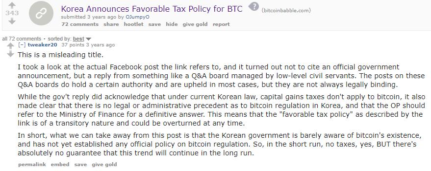 South Korea Bitcoin Tax Announcement 2013 Reddit comment
