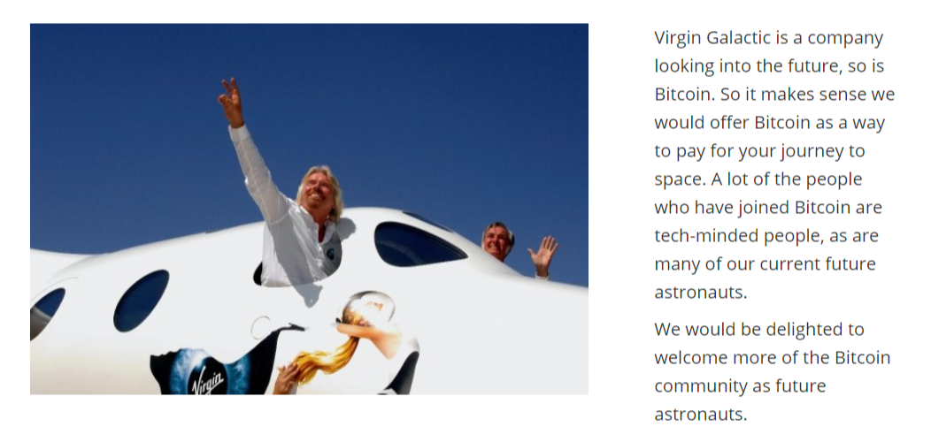 Virgin Galactic Bitcoin payment company website