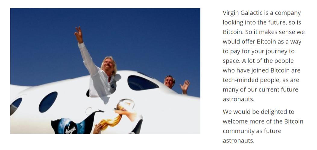Virgin Galactic Bitcoin payment company website