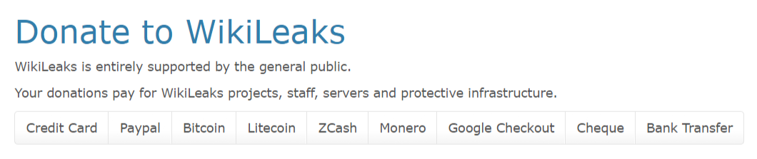 WikiLeaks cryptocurrency donations