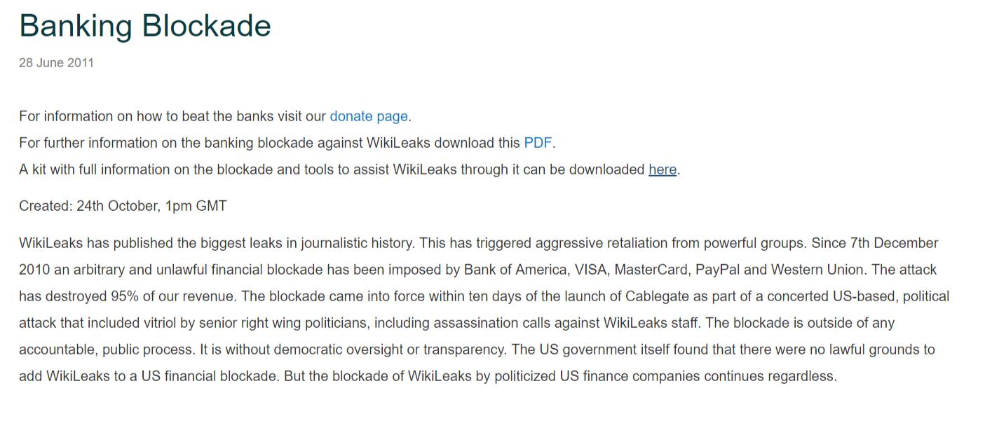 WikiLeaks banking blockade statement