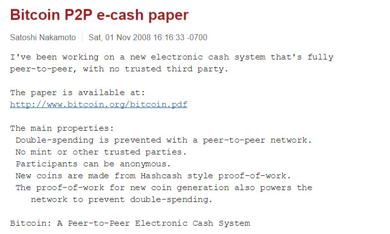 Satoshi Nakamoto email bitcoin