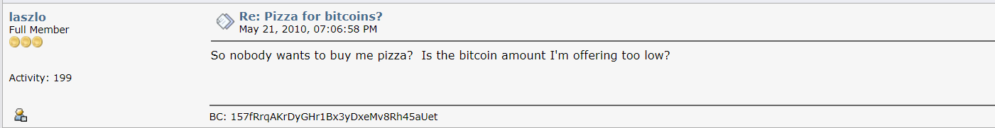 Bitcoin pizza low price comment
