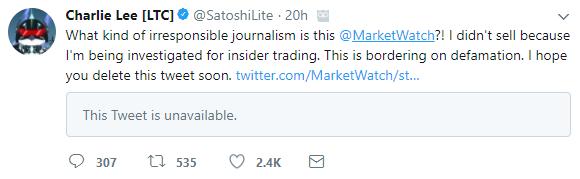 Charlie Lee Twitter Inside Trading Market Watch