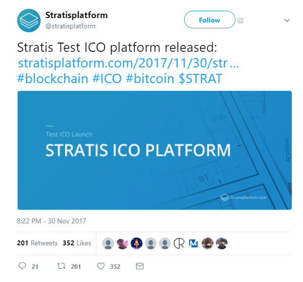 Stratis Test ICO Launch Twitter