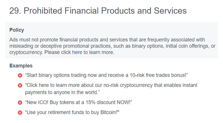 Facebook bans crypto ads