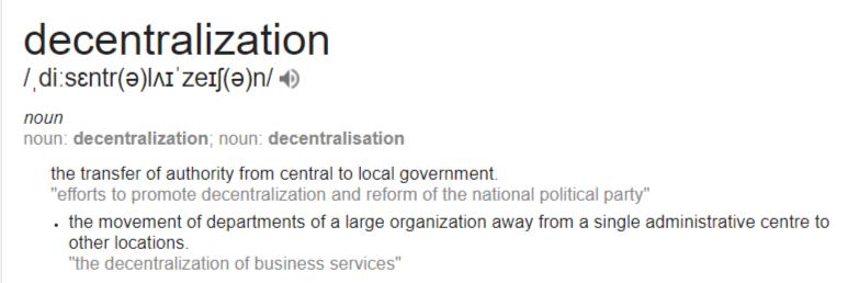 Decentralization Definition
