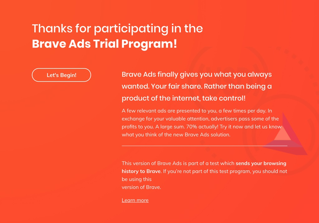 Brave Ads Trial Program