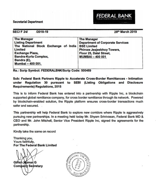 Federal bank Ripple
